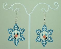 Snowman Snowflake Beaded Earrings Winter Jewelry by LazyRose