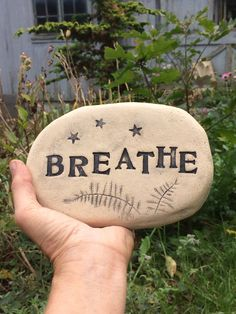 Excited to share my shop: Breathe stone. Handmade clay plaque with stars, ferns, vintage font, capital letters. Affirmation stone for Meditation Painted Stepping Stones, Painted Garden Rocks, Painted Rocks, Cement Garden, Brick Garden, Garden Art, Garden Plaques, Garden Signs, Inspirational Rocks