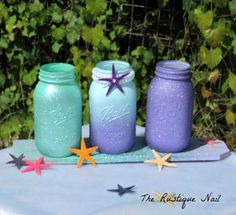 Mermaid centerpieceglitter mermaid by TheRustiqueNail on Etsy Más Little Mermaid Birthday, Little Mermaid Parties, The Little Mermaid, Mermaid Baby Showers, Baby Mermaid, Party Hard, Mermaid Room, Mermaid Bathroom, 4th Birthday Parties