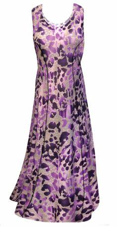 132449faf9a7d Hot Purple   Mauve Leopard Slinky Print Princess Cut Plus Size Tank Dress  2x 3x 4x