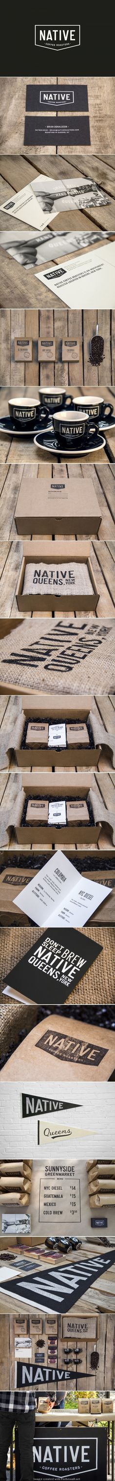 Identity / Native Coffee Roasters... black ink over kraft paper is always a smart choice!