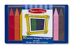 Triangular crayons that won't roll off the tray table.  These are made of plastic, not wax.