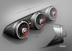 New Audi TT Interior Design Sketch Air vents by Maximilian Kandler.