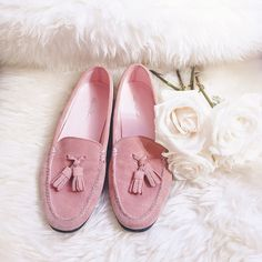 PARISIAN SKIES TASSEL LOAFER - Pink Suede (Women's)