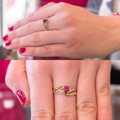 You are viewing a pretty ruby and diamond promise or statement ring. This ring is crafted from 10k yellow gold, is hallmarked on the inside
