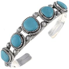 Navajo Turquoise Bracelet Open Style Silver Cuff
