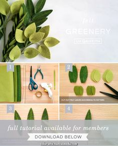 DIY photo tutorial for felt greenery stems by Lia GriffithYou can find Felt flowers and more on our website.DIY photo tutorial for felt greenery stems by Lia Griffith Cricut Projects To Sell, Diy Crafts To Sell, Easy Crafts, Craft Projects, Easy Diy, Handmade Flowers, Diy Flowers, Fabric Flowers, Paper Flowers