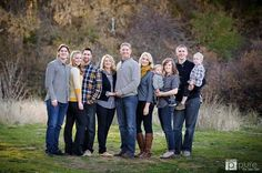 Extended family; great color choices for clothes. Greys, blues, pop of yellow.