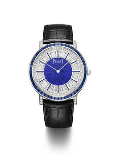 Piaget Altiplano watch in 18K white gold and platinum set with 48 baguette-cut blue sapphires (approx. 3.10 cts), 36 brilliant-cut diamonds (approx. 3.00 cts), 398 brilliant-cut diamonds and natural lapis-lazuli on dial. Manufacture Piaget 1200P automatic movement. Black alligator leather strap.