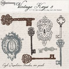 Vintage Locks and Keys 3, digital clip art and photoshop brushes, printable artwork: Commercial and Personal Use. $4,50, via Etsy.