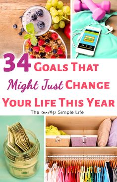 34 Great Goals to Set to Change Your Life | Big list of life goals: Health / fitness, home, relationship, and financial / money goals. Working on goal setting this year! Love these ideas! Feeling some motivation!!! #goals #resolutions #personalgoal #goalsetting #inspiration #Motivation