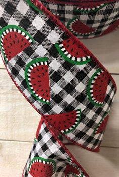 """Excited to share this item from my #etsy shop: Black white red check watermelon wired ribbon, 2.5"""" watermelon ribbon, ribbon by the yard, watermelon check wired ribbon, 841-40-115 #hatmakinghaircrafts #red #black #canvas #waysidewhimsy #wreathsbyrobin Wired Ribbon, Blue Ribbon, Ann Wood, Printed Ribbon, Black White Red, Hat Making, Pink Blue, Watermelon, Bows"""