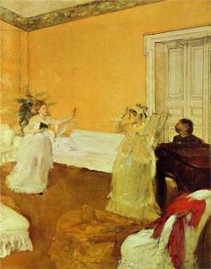 The Song Rehearsal Edgar Degas (French, Oil on canvas. The painting itself exemplifies Degas's interest in unusual viewpoints and purely contemporary. Edgar Degas, Pierre Auguste Renoir, Edouard Manet, Mary Cassatt, Whistler, Canvas Art Prints, Oil On Canvas, Degas Paintings, Degas Drawings