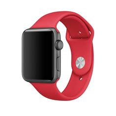 Space Gray Apple Watch with Product Red Sport Band.