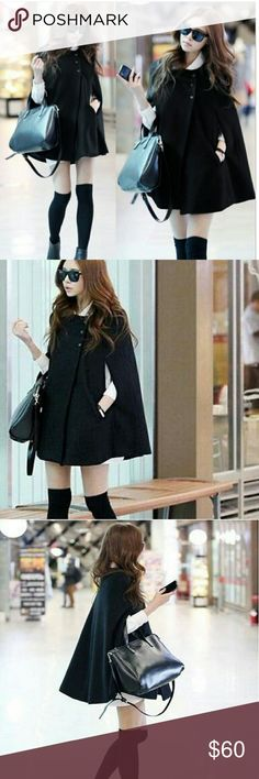 🎉HP🎉🍭Coming Soon🍭 Black Wool Casual Cape Coat Arrives tomorrow pre oder for black friday sale! This wool cape coat is perfect for the cold days ahead. This chic design will keep you fabulous and flirty while still staying warm! 🍭Like this listing or comment below to be notified when this comes in! Jackets & Coats Capes