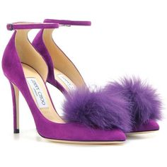 Jimmy Choo Rosa 100 Suede Pumps With Clip-on Fur Pompoms ($820) ❤ liked on Polyvore featuring shoes, pumps, purple, purple shoes, jimmy choo, purple suede pumps, suede pumps and suede leather shoes