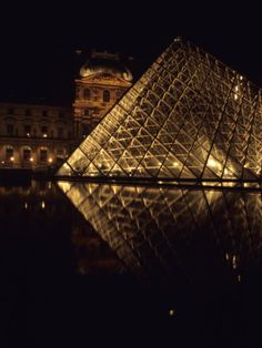 This summer???   A Night View of the Im Pei Pyramid at the Louvre, Paris, France