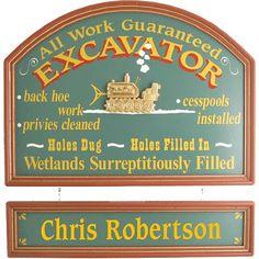 Personalized Excavator Custom Wood Sign