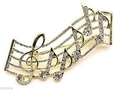 Music Notes Pin Brooch Musician Clef Gold Swarovski Crystals Silver USA Seller #CrystalAvenue