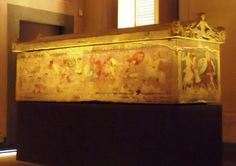 Painted sarcophagus with motives inspired from the Mausoleum of Halikarnassos, Museo Archeologico Firenze, Italy