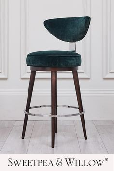 The stunning Grace Barstool will redefine your cocktail or breakfast bar with its effortlessly chic silhouette and dazzling nickel accents. Elevated on dark wenge legs, this timelessly elegant seat will complement all interior spaces. #sweetpeaandwillow #velvetbarstool #luxurybarstool #modernbarstool #breakfastbarstools Island Stools, Stools For Kitchen Island, Upholstered Bar Stools, Upholstered Furniture, Willow Furniture, Breakfast Bar Stools, Modern Art Deco, Modern Bar Stools, Green Home Decor