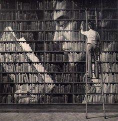 Interesting arrangement of books.