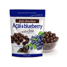 RICH IN ANTIOXIDANTS CENTERS MADE FROM REAL FRUIT JUICE CHIA SEEDS ARE RICH IN FIBRE Juice Concentrate, Fruit Juice, Dried Fruit, Corn Starch, Chia Seeds, Cocoa Butter, Blueberry, Oatmeal, Chocolate