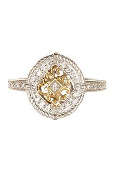 Cignature 18K White & Yellow Gold Filigree Diamond Ring - 0.11 ctw