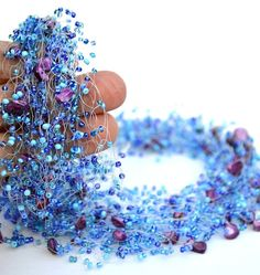 Blue necklace Beaded lavender jewelry Wedding necklace by ensaga