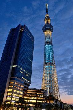 Tokyo Sky Tree, Japan ☮k☮ Tokyo Skytree, Amazing Buildings, Amazing Architecture, Installation Architecture, Building Architecture, Modern Architecture, Places Around The World, Around The Worlds, Wellness Massage