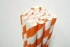 "Pretty striped paper straw - this one is more orange than the peachy orange - great for wedding, birthdays and anytime you need to add some colors to your party or get together!Pack of 25 7 3/4"" long Food safe & FDA Approved Earth Friendly & Bio-degradable Thickest Strongest Most Durable Made in USA $4.00"