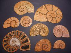 ammonite collagraph printing blocks by janine denby