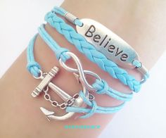Infinity bracelet Believe bracelet Silver  Anchor bracelet Blue leather bracelet Friendship bracelet - Best Gift - Personalized