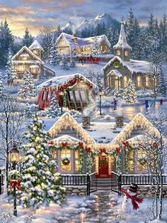 Christmas Village 1000 Piece PuzzleYou can find Christmas pictures and more on our website. Christmas Puzzle, Christmas Art, Christmas Wreaths, Christmas Decorations, Christmas Jigsaw Puzzles, Christmas Villages, Winter Christmas Scenes, Christmas Scenery, Christmas Landscape