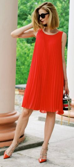 Paula Jagodzińska + sleek and sophisticated + pleated red midi dress+ bejewelled red sandals + mini box bag + extra authenticity + wear red this summer + best decision you make!   Dress: Solar, Bag: Batycki, Boots: Valentino.