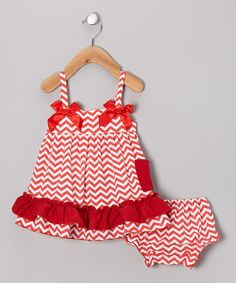 Take a look at this Red Zigzag Swing Top & Diaper Cover - Infant on zulily today!
