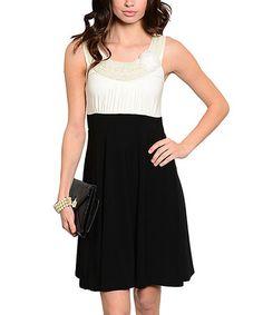 Look at this #zulilyfind! White & Black Color Block Yoke Dress #zulilyfinds