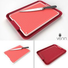 Our double-sided cutting board has a smooth side for slicing, dicing and chopping while the tray holds in juices, crumbs and little bits. Flip the board to its colorful textured side and it's perfect to hold roasts in place while carving, and the tray keeps juices neatly contained. The non-slip tray bottom stays in place while you're working or serving.  http://www.vennkitchen.com/products.html  #kitchenware #organization #kitchen #design #sleek #modern #cuttingboard #cooking #chef #shop