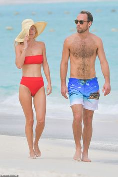 James Middleton and his fiancée Alizée Thevenet put on a playful display as they were pict. James Middleton, Carole Middleton, Kate Middleton Wedding, Middleton Family, H And M Bikini, Red Bikini, Pippa And James, James Matthews, Taylor Swift Outfits