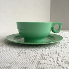 Vintage Teal Green Melamine Teacup and Saucer by Alladin and Plastics Inc 1960s by vintagepoetic on Etsy