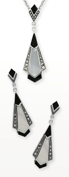Art Deco inspired black onyx and mother of pearl necklace and earrings set. Available at: http://www.gemondo.com/p-19467-sterling-silver-black-onyx-mother-of-pearl-marcasite-45cm-necklace.aspx
