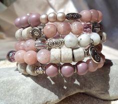 Multi strand Sunstone Bracelet Bohemian summer by ArilelJewelry