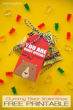 Free Printable Beary Special Valentines | Cute free Valentine printables that are perfect for gummy bears or similar. Instant download, prints six to a page.