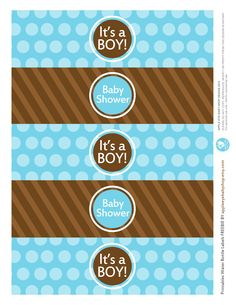 {Free Printable| Baby BOY Water Bottle Labels} Freebie by http://www.etsy.com/shop/appleeyebabyshop?ref=si_shop #printable  #freebies #diy #print #free #label #babyshower #boy #waterbottle