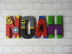 Superhero Letters - Personalised Hand Painted Papier Mache letters - Super Hero Letter Kids Name - MADE TO ORDER Papier Mache hand painted letters letter names If you require a longer name please look at my other listing: Superhero Letters, Superhero Room, Baby Superhero, Painted Letters, Wooden Letters, Hand Painted, Marvel Bedroom, Avengers Room, Toy Rooms
