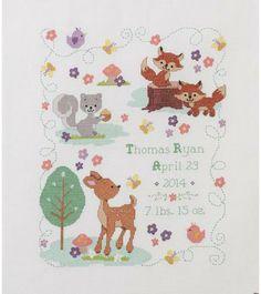 Forest Friends - Birth Record - Cross Stitch Kit