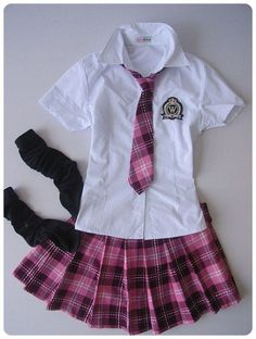 This is the Japan school uniform,tie and dress are pink plaid,,so i love it,i want to buy it to wear!!!!