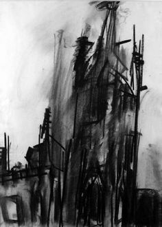 Charcoal Drawing Techniques University of Warwick Art Collection - Coventry: The Old Cathedral Spire by Dennis Creffield - Charcoal Art, Charcoal Drawings, Building Drawing, Observational Drawing, A Level Art, Easy Drawings, Ink Drawings, Urban Landscape, Drawing Techniques