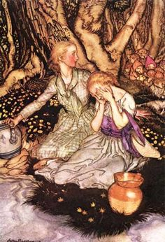 """Arthur Rackham, Goblin Market, """"Laura turned cold as stone, To find her sister heard that cry alone, That goblin cry, 'Come buy our fruits, come buy.'"""" Christina Rossetti"""
