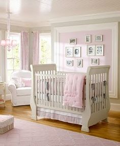 Little Inspirations: Lovely Nurseries - Accent wall of color with molding
